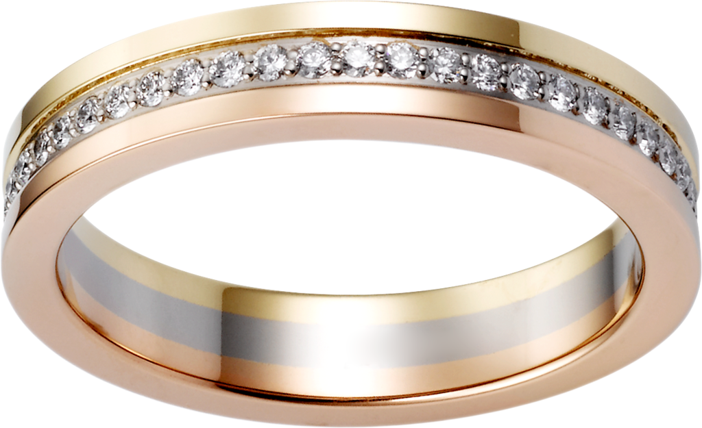 Trinity wedding bandWhite gold, yellow gold, pink gold, diamonds