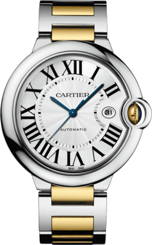 Ballon Bleu de Cartier watch 42mm, automatic movement, yellow gold, steel