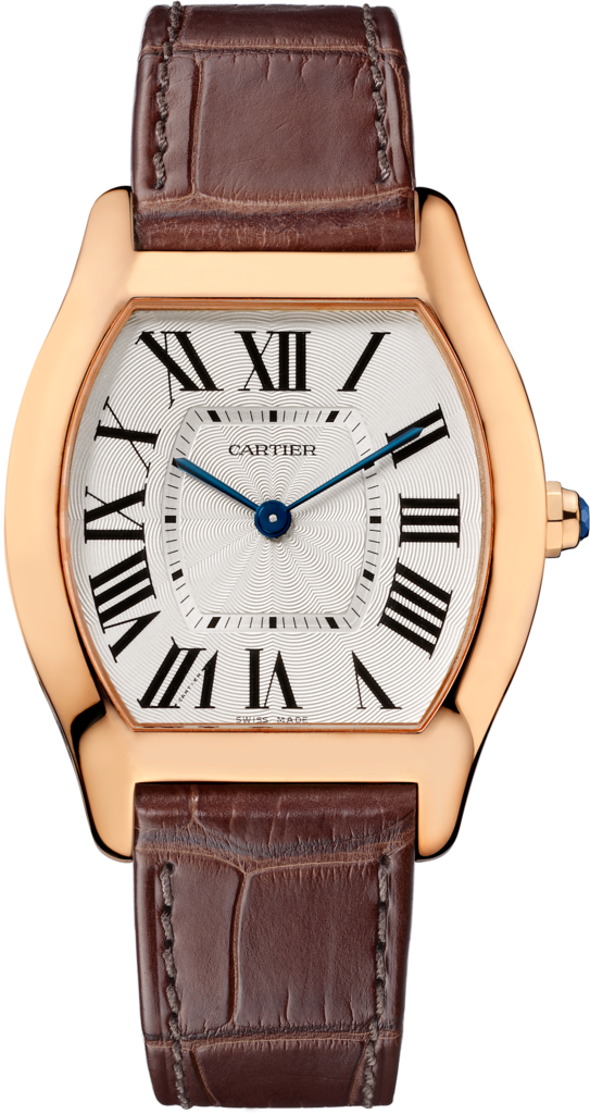 Tortue watchMedium model, 18K pink gold, leather