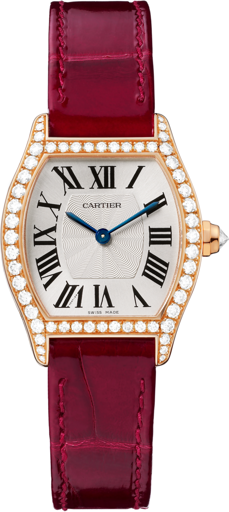 Tortue watchSmall model, 18K pink gold, leather, diamonds