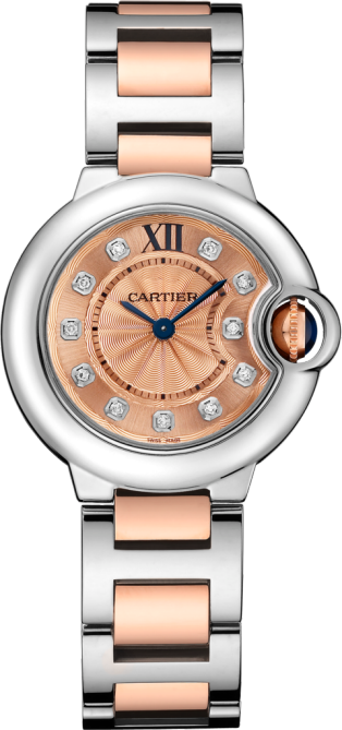Ballon Bleu de Cartier watch 28mm, quartz movement, pink gold, steel, diamonds