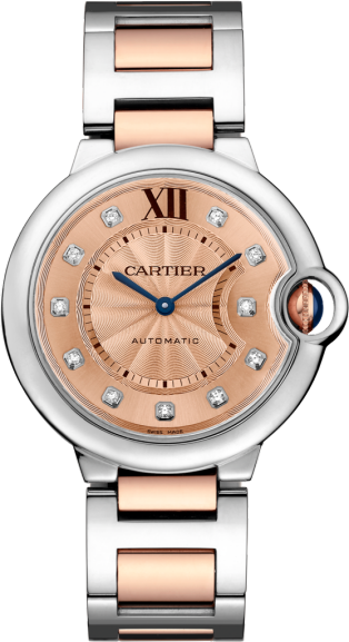 Ballon Bleu de Cartier watch 36mm, automatic movement, rose gold, steel, diamonds