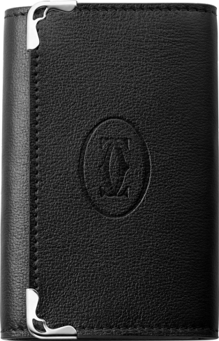 Must de Cartier Small Leather Goods, 6-key key ring Black calfskin, stainless steel finish
