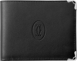 6-Credit Card Wallet, Must de Cartier Black calfskin, stainless steel finish
