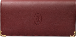 International Wallet with Gussets, Must de Cartier Burgundy calfskin, golden finish