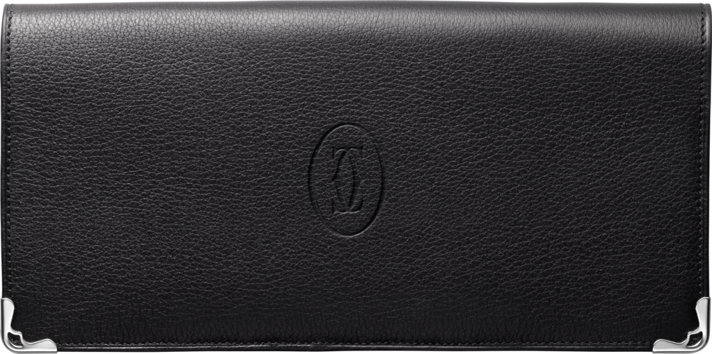 International Wallet with Gussets, Must de CartierBlack calfskin, stainless steel finish