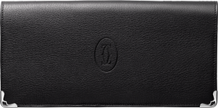 International Wallet with Gussets, Must de Cartier Black calfskin, stainless steel finish