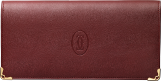 Zipped International Wallet, Must de Cartier Burgundy calfskin, golden finish