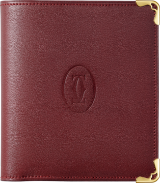 Must de Cartier Small Leather Goods, multiple wallet Burgundy calfskin, golden finish