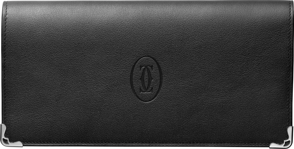 Zipped International Wallet, Must de CartierBlack calfskin, stainless steel finish