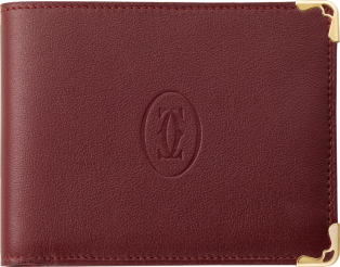 Must de Cartier Small Leather Goods, coin/banknote/credit card wallet Burgundy calfskin, golden finish
