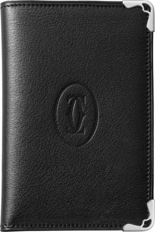 4-Credit Card Holder, Must de Cartier Black calfskin, stainless steel finish