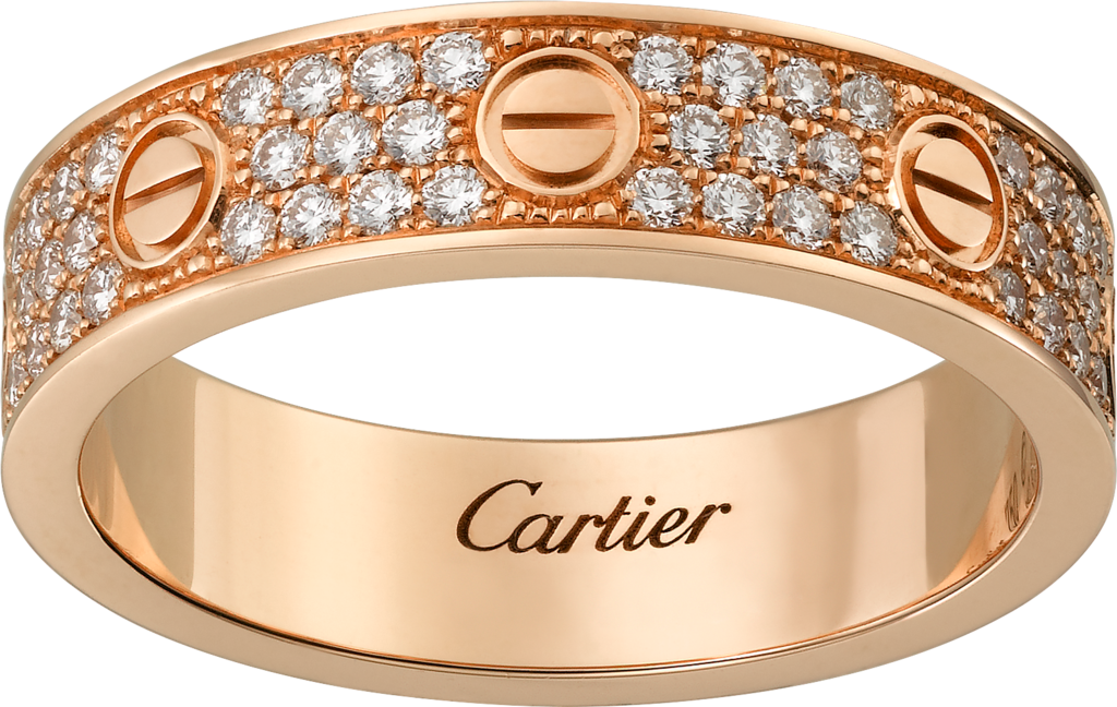 Love wedding band, diamond-pavedPink gold, diamonds