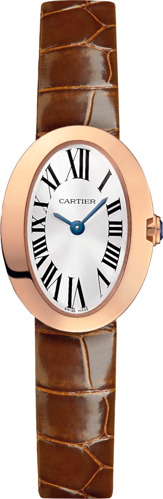 Mini Baignoire watchMini model, quartz movement, pink gold, leather