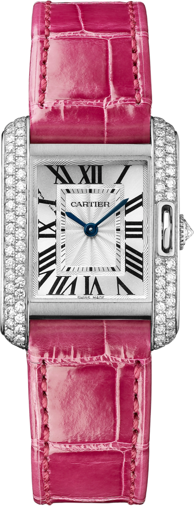 Tank Anglaise watchSmall model, rhodiumized 18K white gold, leather, diamonds