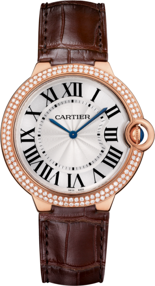 Ballon Bleu de Cartier watch 40mm, hand-wound mechanical movement, rose gold, diamonds