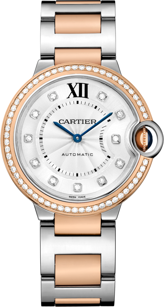 Ballon Bleu de Cartier watch36mm, automatic movement, pink gold, steel, diamonds