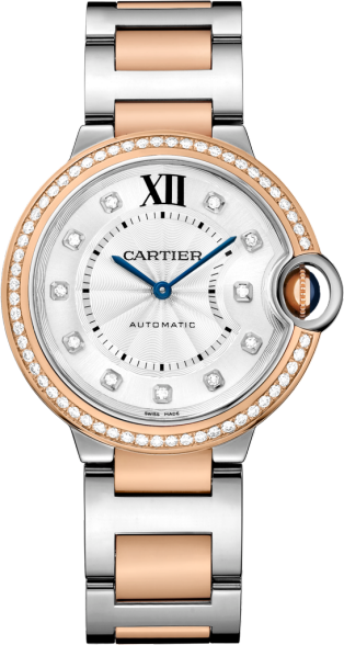 Ballon Bleu de Cartier watch 36mm, automatic movement, pink gold, steel, diamonds