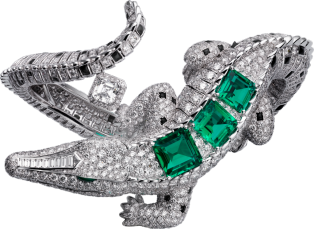 High Jewelry bracelet White gold, emeralds, obsidians, diamonds