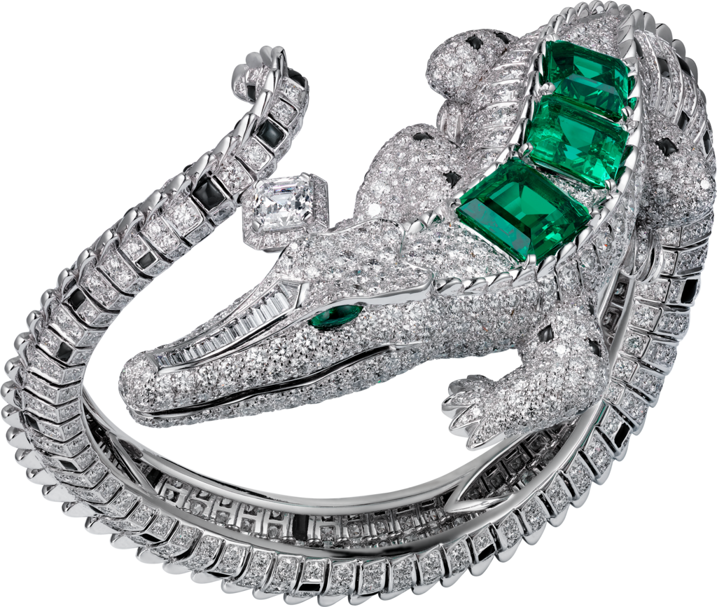 High Jewelry braceletWhite gold, emeralds, obsidians, diamonds