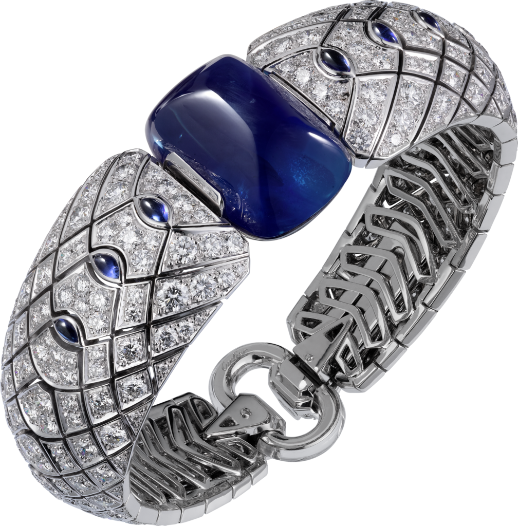 High Jewelry braceletWhite gold, sapphires, rock crystal, diamonds