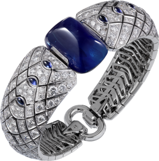 High Jewelry bracelet White gold, sapphires, rock crystal, diamonds