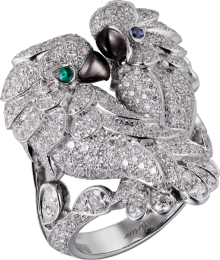 Les Oiseaux Libérés ring White gold, sapphires, emeralds, mother-of-pearl, diamonds