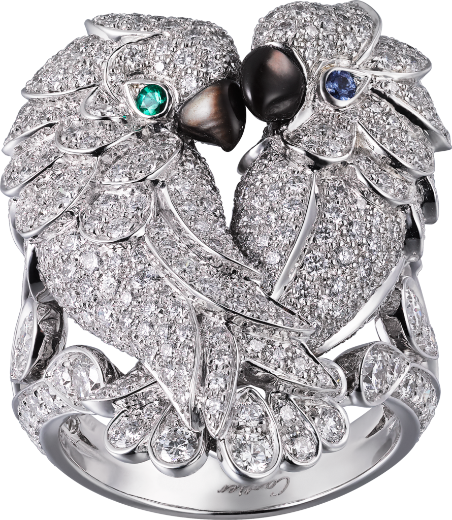 Les Oiseaux Libérés ringWhite gold, sapphires, emeralds, mother-of-pearl, diamonds