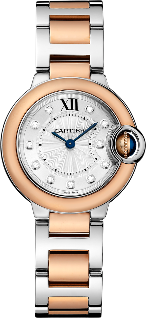 Ballon Bleu de Cartier watch28 mm, 18K pink gold and steel, diamonds