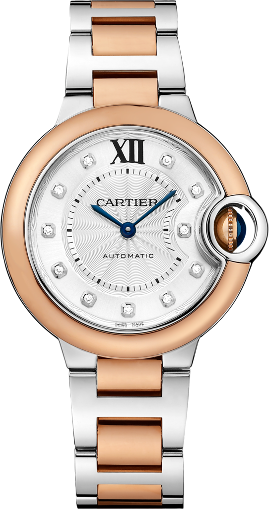 Ballon Bleu de Cartier watch33mm, automatic movement, pink gold, steel, diamonds