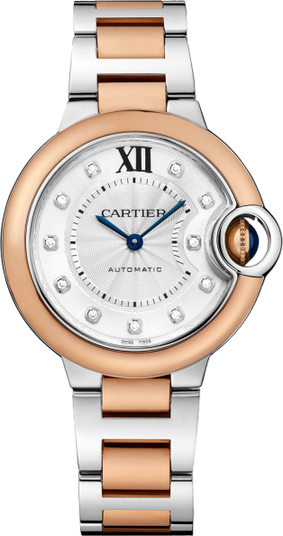 Ballon Bleu de Cartier watch 33mm, automatic movement, pink gold, steel, diamonds
