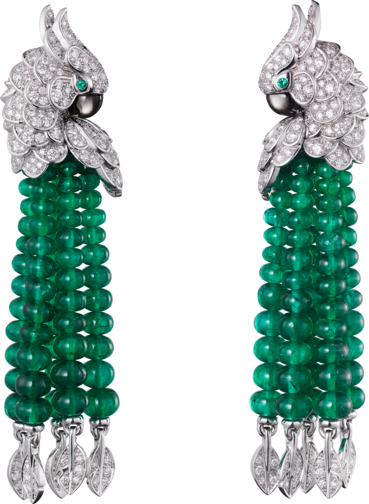 Les Oiseaux Libérés earringsWhite gold, emeralds, mother-of-pearl, diamonds